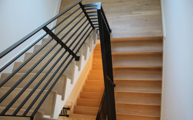 Contemporary black painted wrought iron railing_2 and half inch top rail_ 2 inch solid posts_horizontal balusters_1