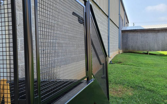 Exterior railing schedule 40 pipe with mesh insert painted black