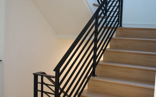 Modern interior wrought iron rail_2 inch hollow posts_horizontal balusters_painted black